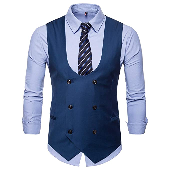 UK Mens Retro Check U Neck Double-breasted Suit Vest Waistcoat Sleeveless Blazer