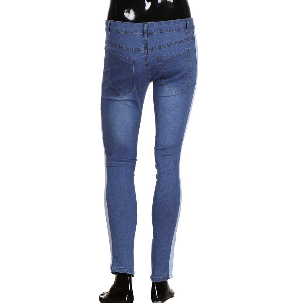 Hunzed Men【Distressed Slim Fit Jeans】 Stretch Denim Pants Ripped Freyed Zipper Trousers