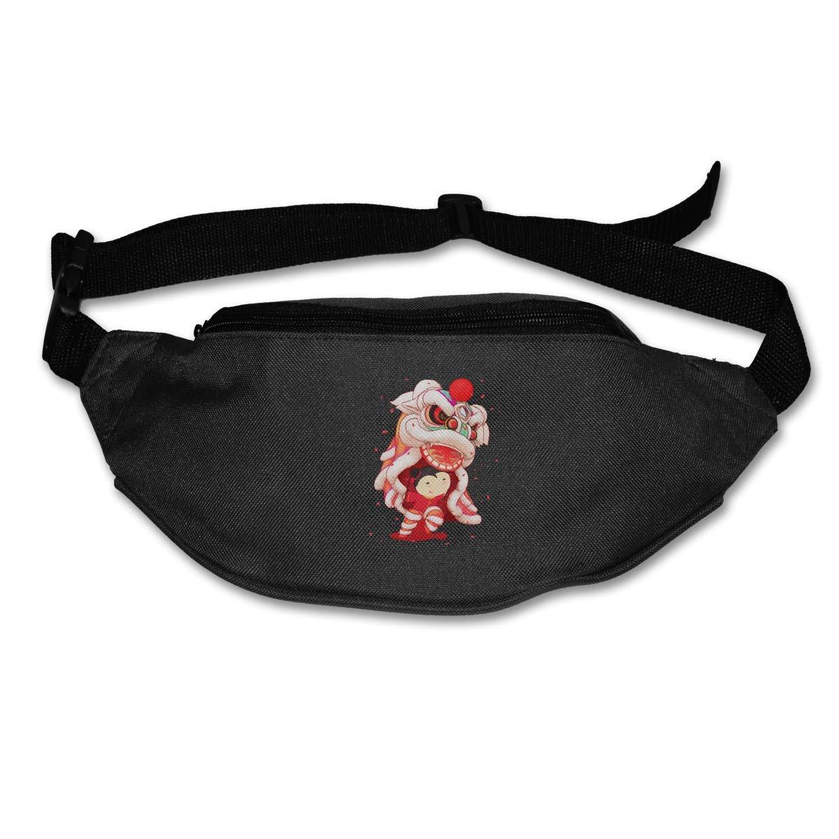 Waist Purse Chinese Lion Dance Style Unisex Outdoor Sports Pouch Fitness Runners Waist Bags