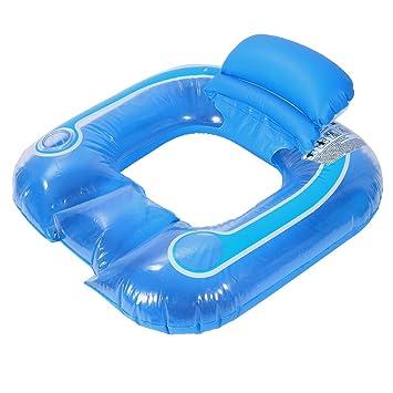Flotador de Piscina - Silla Flotante con Soporte de Botella y Respaldo (Color : Azul) : Amazon.es: Juguetes y juegos