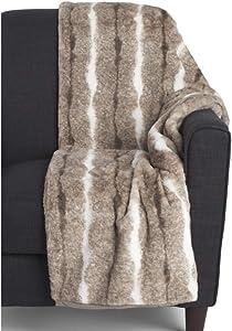 Max Studio Faux Fur Throw Blanket Plush Light Weight Cream Brown White