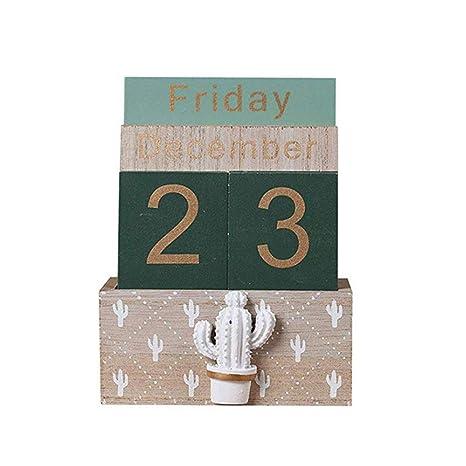 Amazon.com: YOJEP Calendario Perpetual de Madera Vintage ...