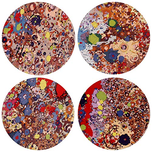 Ceramic Coasters Absorbent for Drinks, 4 Pack (Oil Painting)