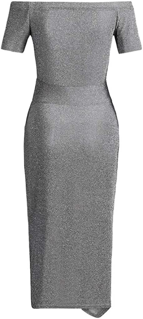 Womens Sparkling Evening Dress High Slit Off Shoulder Bodycon Dress for Party Annual Dinner Special Events
