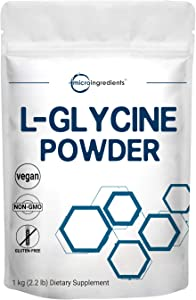 Micro Ingredients US Origin, L Glycine Powder, 1KG (2.2 Pounds), Glycine 1000mg Per Serving, Strongly Supports Muscle Energy, Stamina, Endurance and Strength, No GMOs and Gluten Free