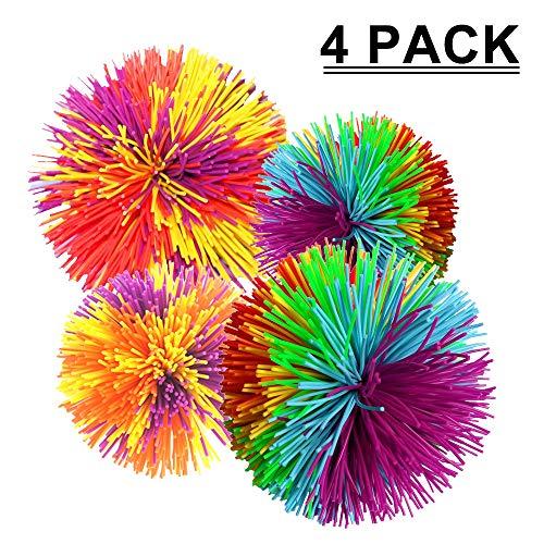 LOAZRE - Juego de pelotas de overol de 4 piezas, dos diferentes tamaños y colores de pelota de estrés con bola de rebote,...