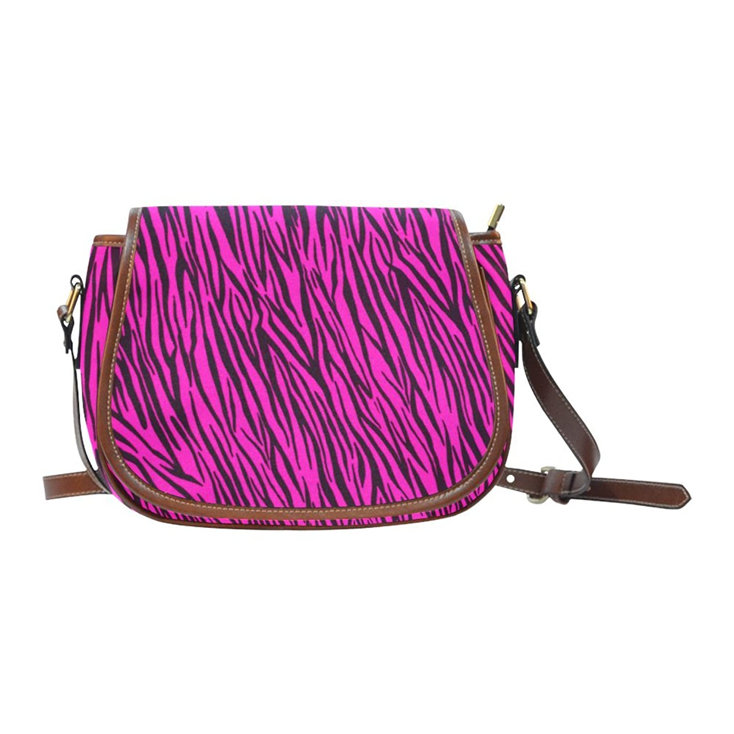Find Arts Custom Saddle Bag Hot Pink Zebra Stripes Animal Print Fur Saddle Bag Crossbody Bag Small