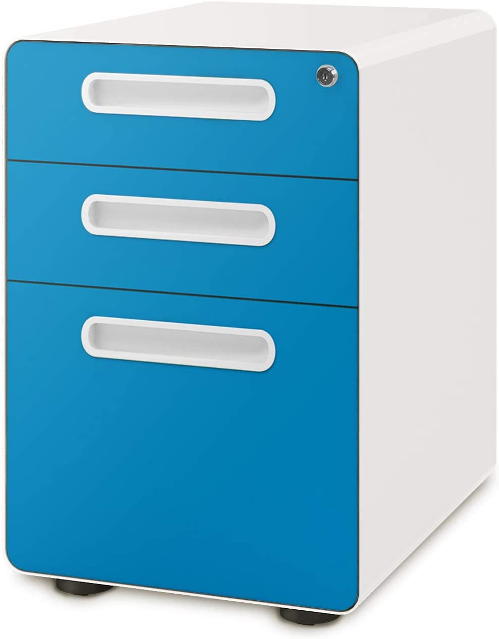DEVAISE 3-Drawer Mobile File Cabinet with Anti-tilt Mechanism, Legal/Letter Size, Blue