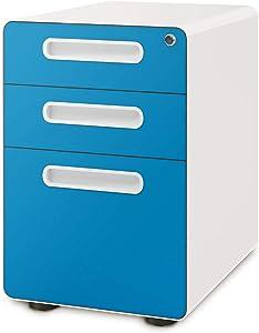 DEVAISE 3-Drawer Mobile File Cabinet with Anti-tilt Mechanism, Legal/Letter Size, Blue