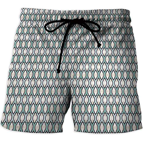 Price comparison product image Men's Draw-String Sports Athletic Shorts, Kitchen DecorPrinted Quick-Drying Swimming Abstract Folkart Tile Pattern Home Cafe Interior Decoration Kitchenware Print