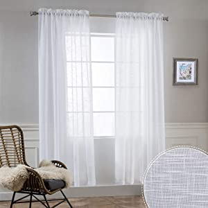 RYB HOME Semi Sheer Curtains - Natural Linen Blend Privacy Sheer Drapes Light Glare Filtering for Living Room Bedroom Bathroom Dining Cafe, White, Width 52 inch x Length 72 inch, 1 Pair