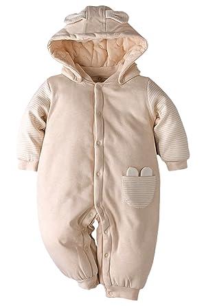 Poliking Newborn Bodysuits Romper Unisex Baby Winter Natural Algodón Orgánico suave, cálido, algodón orgánico Sudadera con capucha y zapatos de niño ...