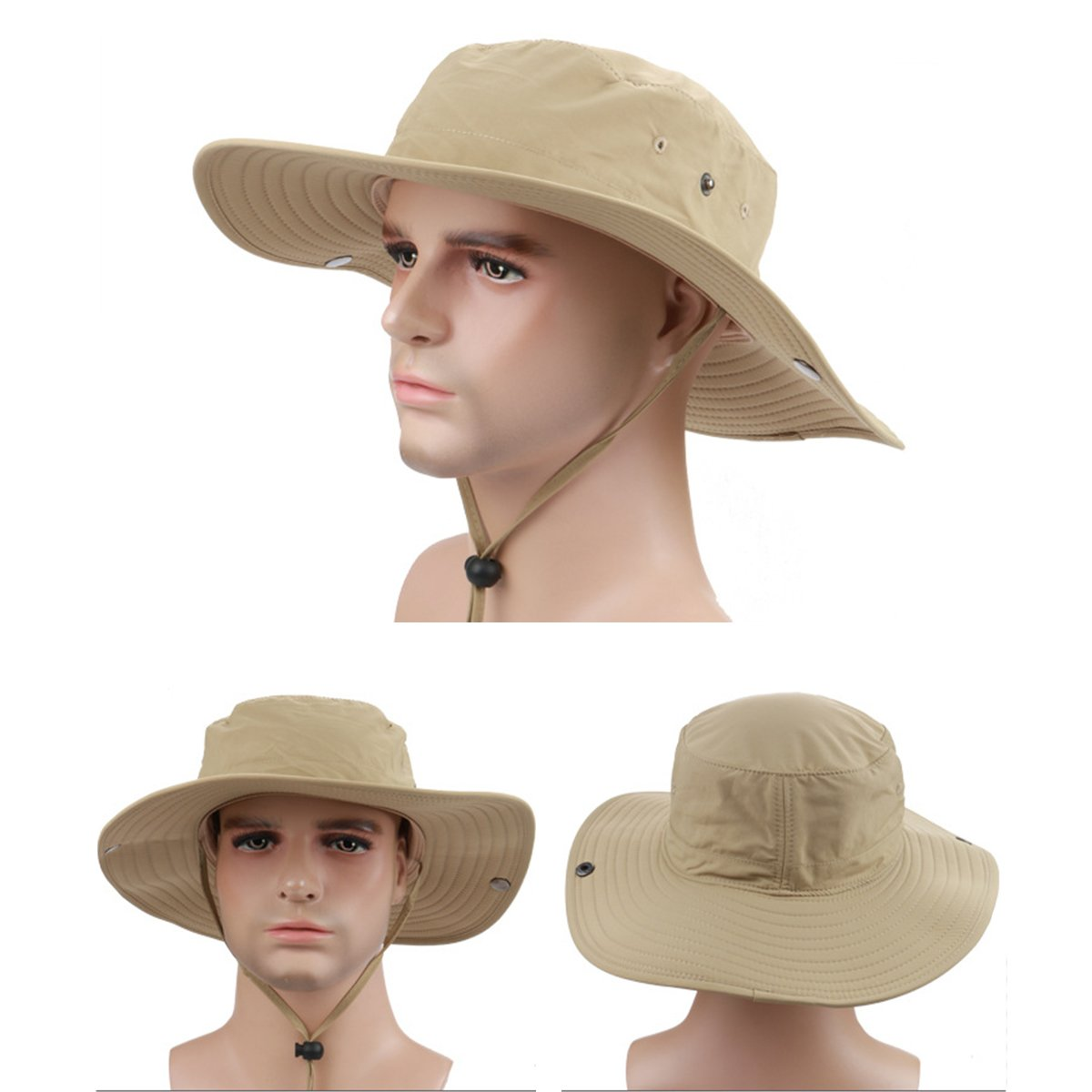 da629ddcaf9 Surblue Wide Brim Cowboy Hat Collapsible Hats Fishing Golf Hat Sun Block  UPF50+ - XYTSH005A-KHAKI-JP   Sun Hats   Clothing