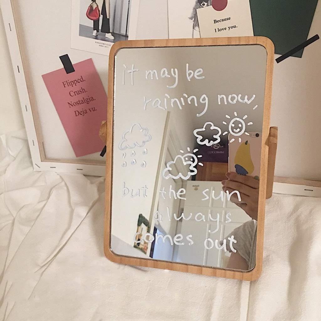 miroir de maquillage en bois HD de miroir de maquillage de chambre de bureau de dortoir miroir nordique de vanit/é de bureau de beaut/é de m/énage Miroir de maquillage de table