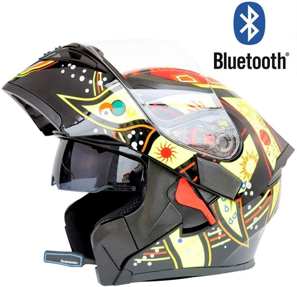 Helmet, フルヘルメットオートバイブルートゥースフルフェイスヘルメットモジュラーフリップアップデュアルバイザー防曇内蔵スピーカーヘッドセットマイク自動応答DOT認証 (Color : Natural, Size : XL) Natural X-Large