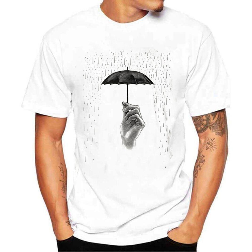 Longra Herren T-Shirt Kurzarmshirt Top Print Shirt Casual Basic O-Neck T-Shirt. Slim Fit, Einfarbige Kurzauml;rmliche Mauml;nner Shirt Herren Regular Fit T-Shirt  M White
