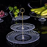 3 Tier Cake Stand and Fruit Plate Cupcake Clear Acrylic Stand White for Cakes Desserts Fruits Candy Buffet Stand for Wedding & Home & Birthday Party Serving Platter (A)