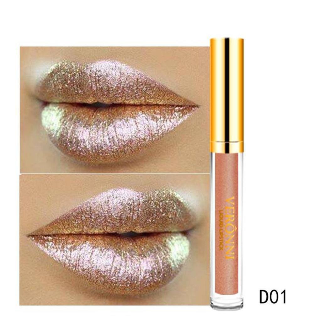 Women Lipstick wyxhkj 10 Color Womens Magic Glitter Flip Lipstick Flip Pull Matte Pearl Lip Gloss Clu (C)