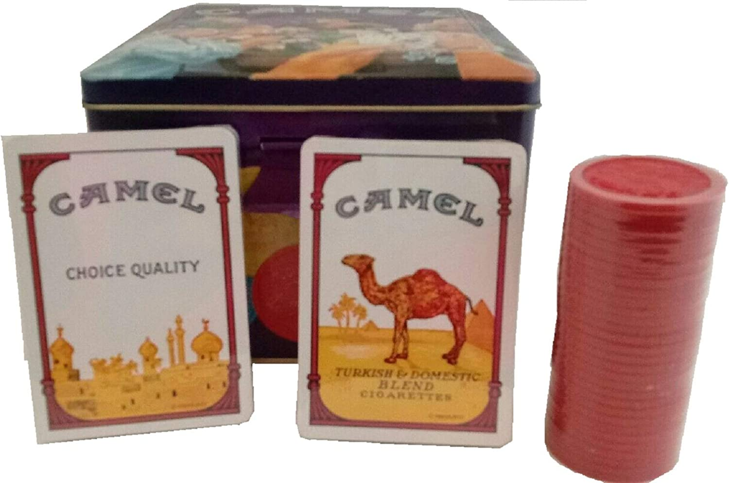 1994 Camel Poker Set with Collectible Tin Includes Cards/Chips. Joe Camel.