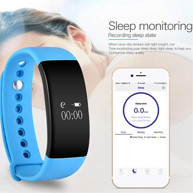 CplaplI Pulsera Inteligente de Relojes, V66 Bluetooth 4.0 Pulsera ...
