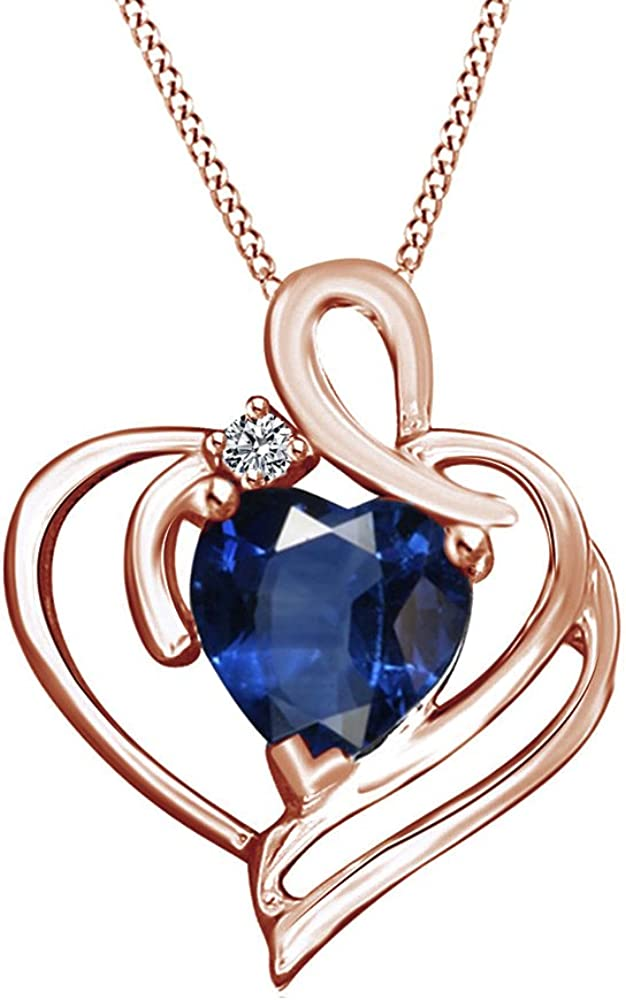 0.78 Ct Jewel Zone US Simulated Blue Sapphire /& White Cubic Zirconia Heart Pendent in 14K Gold Over Sterling Silver