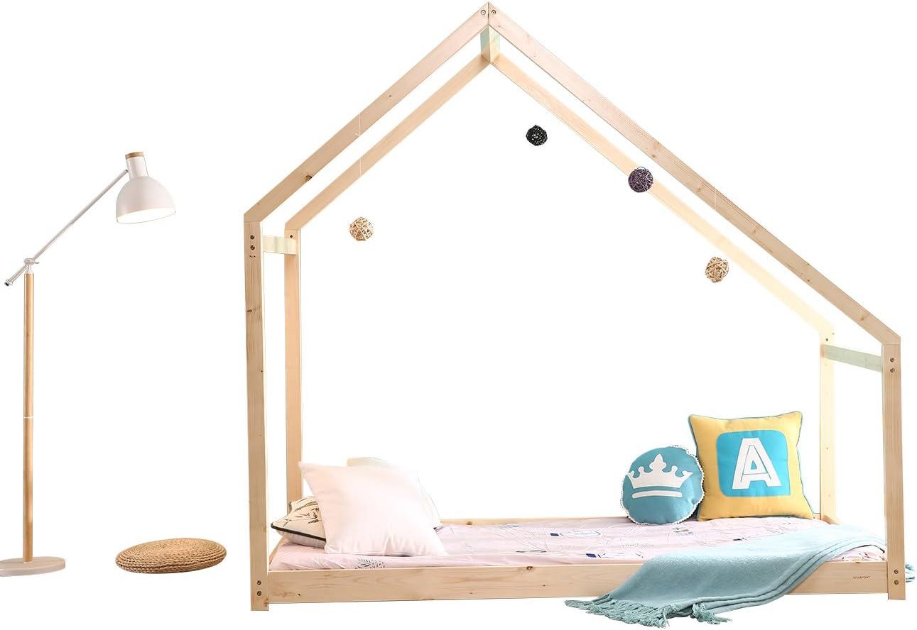Bestmart INC Children Toddler Bed Twin House Bed Frame Kids Floor Bed Children Bedroom Furniture, Premium Wood SGS Certified Paint, Baby Safe