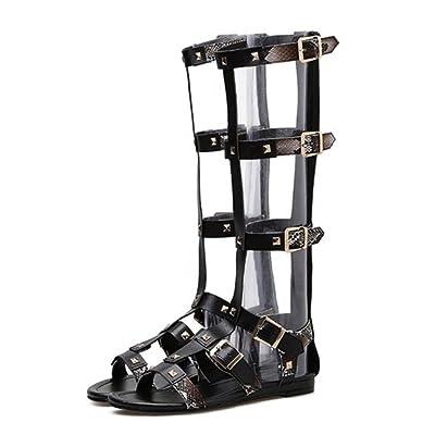 GAOLIXIA Femmes Chaussures PU Été Gladiator Slouch Bottes Sandales Talon Plat Open Toe Rivet Roman Sandales Croix Sangle de la Cheville Pour Casual Noir