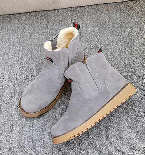 Dooxi Womens Winter Warm Snow Boot Non-slip Slip On Walking Shoes Casual Solid Color Ankle Boots Gray M5Pf5gNk