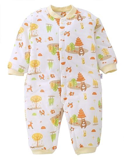 644f41abbfcca 新生児 肌着 ロンパース ベビー 服 男の子 ボディスーツ カバーオール 長袖 前開き 綿素材 秋冬 出産
