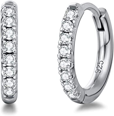 Round Cut White Cubic Zirconia Heart Hoop Earrings in 925 Sterling Silver