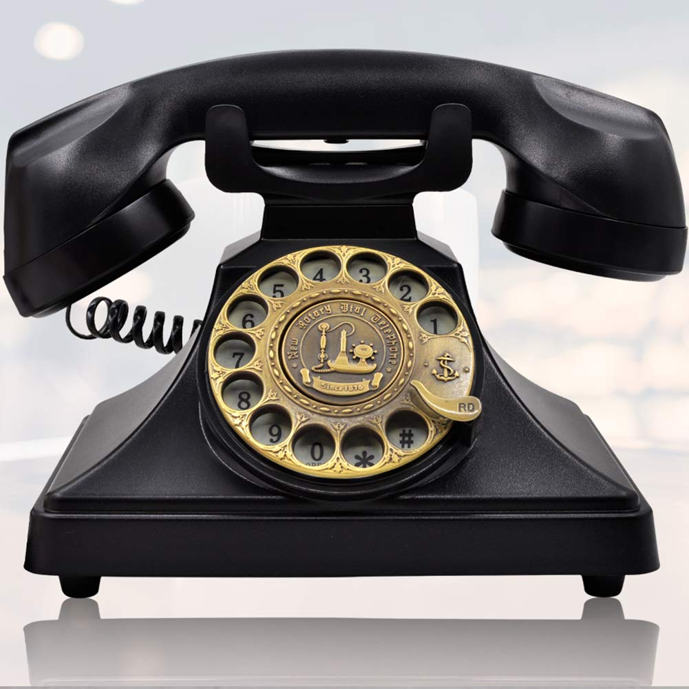 IRISVO Rotary Dial Telephone Retro Old Fashioned Landline Phones with Classic Metal Bell,Corded Phone with Speaker and Redial Function for Home and Decor(Classic Black) by IRISVO
