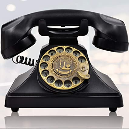 IRISVO Rotary Dial Telephone Retro Old Fashioned Landline Phones with  Classic Metal Bell,Corded Phone with Speaker and Redial Function for Home  and