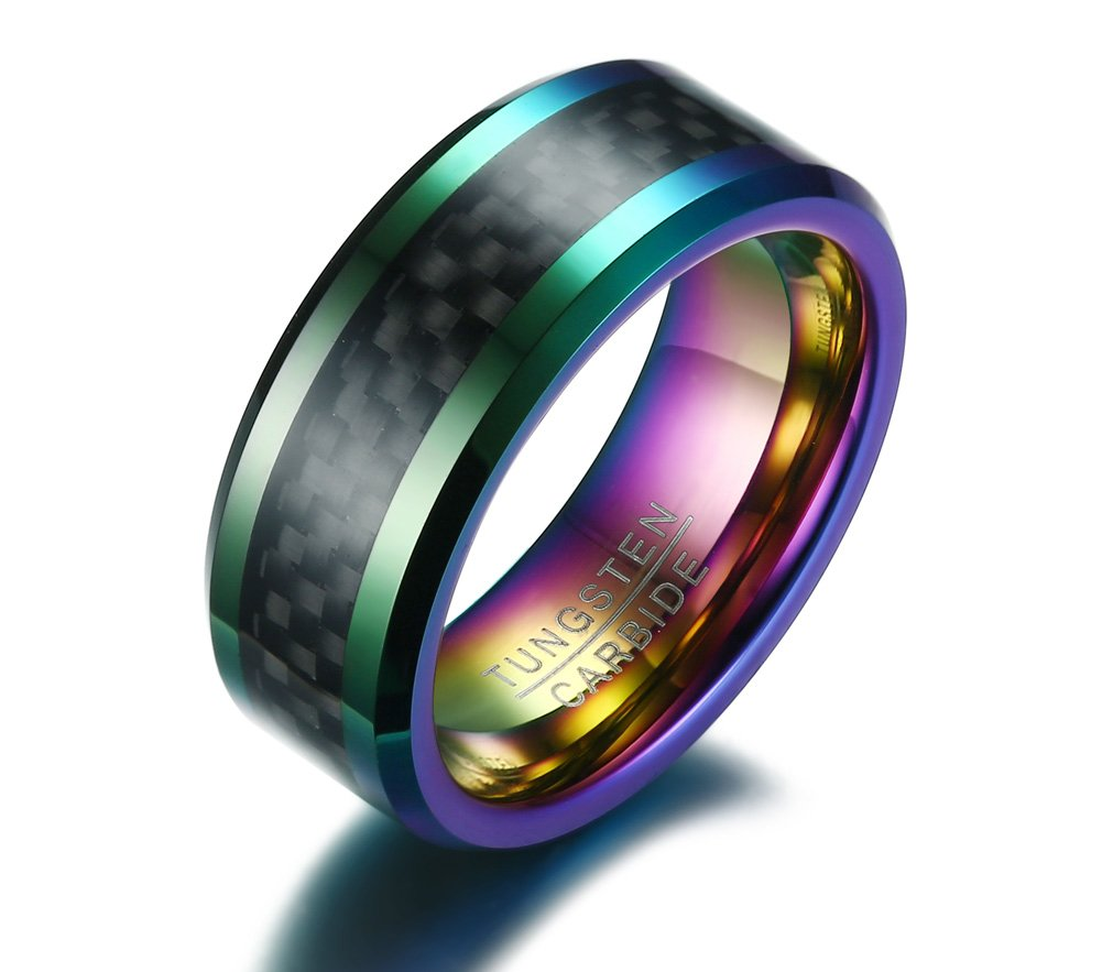 Mealguet Jewelry 8MM Rainbow Colorful Carbon Fiber Inlay Beveled Edge Tungsten Carbide Wedding Ring Band for Men,Size 9
