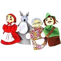 4PCS / Set Rödluvan Animal Finger Puppet Toy Educational Toys Storytelling Doll tecknad för barn Animal fingerdockor…
