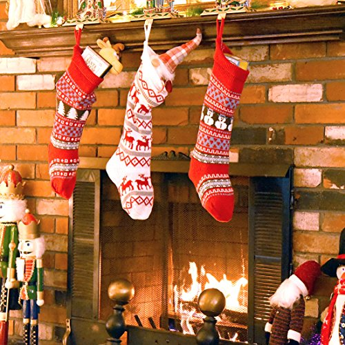 Stocking Holder Holiday (Set of 3 Knit Christmas Stockings Holiday Décor Gift Filler Holder w/ Snowman, Reindeer, Xmas Tree, Snowflake Motif, 21