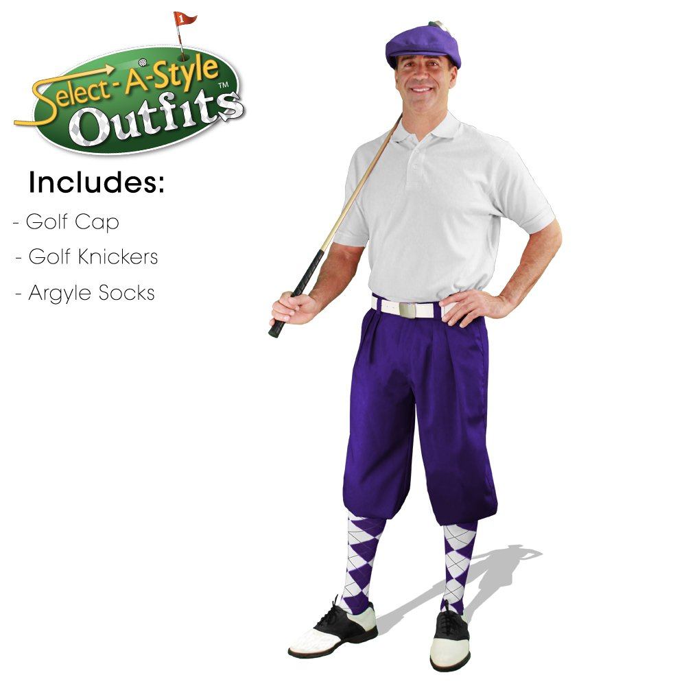 Mens Select-A-Style Golf Knicker Outfit - Purple - Waist 38 - Sock - PU/TP/WH