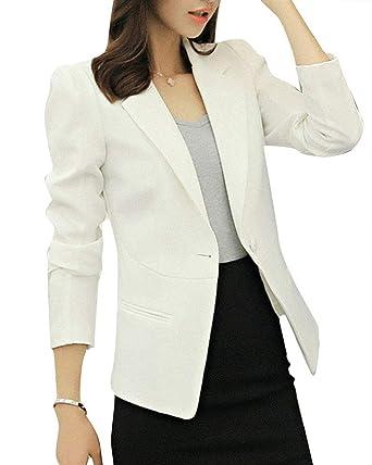 Chaqueta De Traje Mujer Otoño Formal Camisa Slim Basic Fit ...