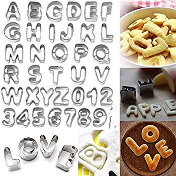... 37 Pcs Alphabet Letter Number Cake Cookie Decorating Cutter Mold Set // 37 pcs letra del alfabeto conjunto molde número torta cortador de galletas de d