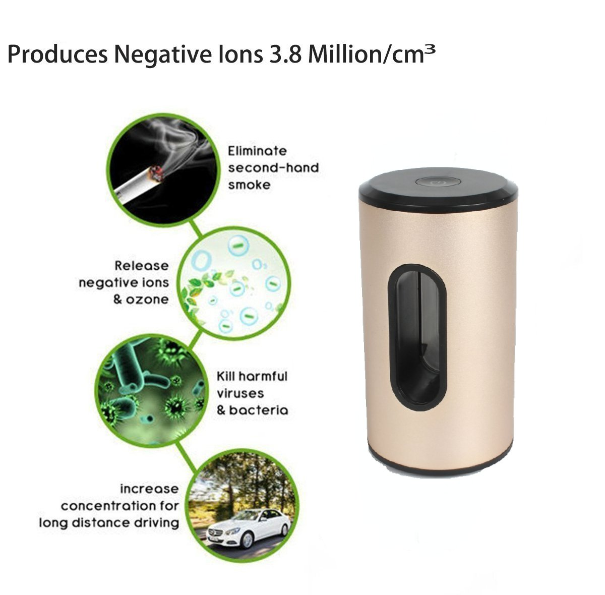 2018 Smart Car Air Ionizer, Portable for Home or Car Freshener, Purifier, Air Cleaner.Cleaner Air for Your Kids and Babies.Remove Smoke, Dust and Pollen, Reduce Bad Odors. Kills Bacteria and Viruses, Air Gooood
