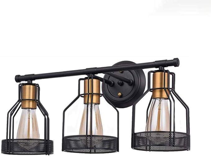 3 luces de baño industrial vanidad luz jaula de metal aplique de ...