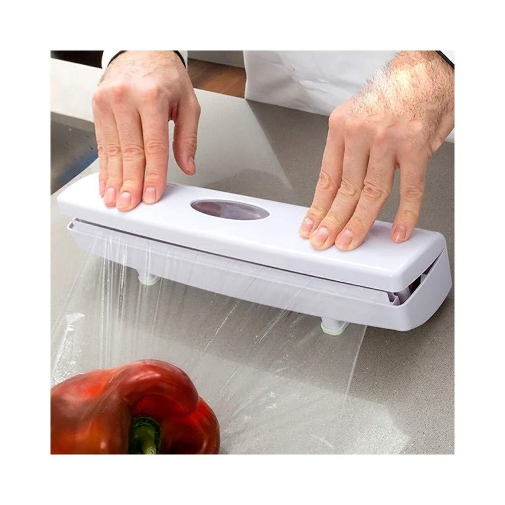 TradeShopTraesio Porta Rotolo Dispenser Automatico con Taglio per Pellicola Carta Forno Alluminio