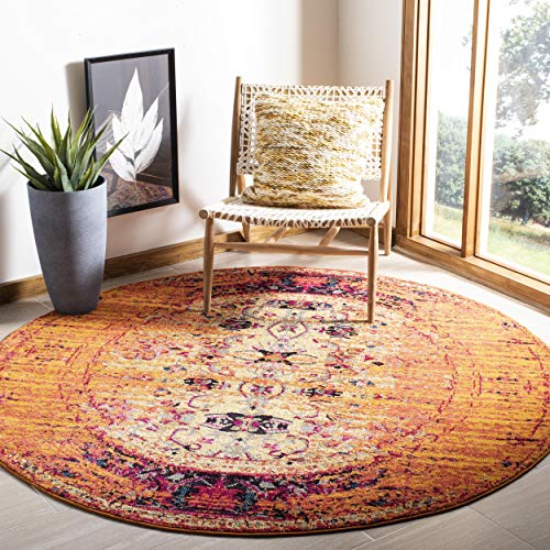 Safavieh Monaco Collection MNC209H Modern Abstract Vibrant Orange and Multi Distressed Area Rug (5' Diameter)