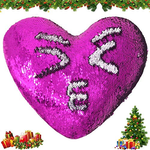 Tomus-UNI Mermaid Sequin Pillow with Insert, 13×15 Heart Magic Reversible Sequins Cushion for Home Décor(Rose/Silver)