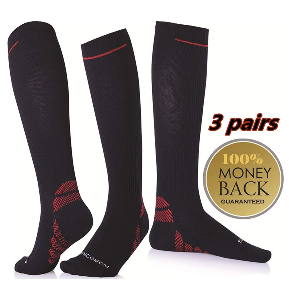 3 Pack Men's Compression Socks,Running Compression Socks 20-30mmhg for Travel,Flight,Maternity,Athletics,Nurse-Medical Care Grade for Shin Splints,Circulation&Recovery,Calf and Leg Pain (M)