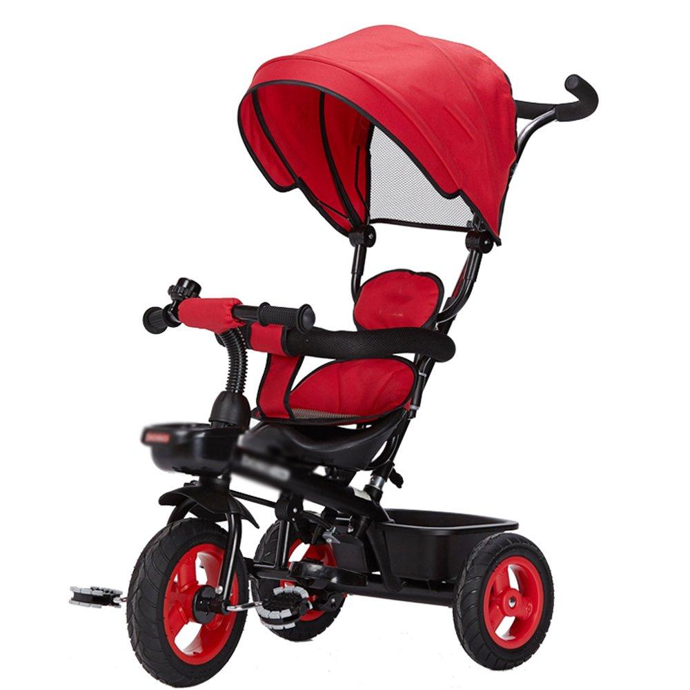 LVZAIXI 赤ちゃんの子供の自転車三輪車の赤ちゃんのキャリッジバイク子供のおもちゃの車折りたたみ可能なバイラテラルステアリング3チタンの空ホイール保護自転車で自転車 ( 色 : 赤 ) B07C798DR3 赤 赤