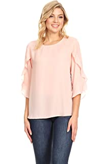 fe4e6bafc69c1 Via Jay Women s Basic Casual Comfortable Relaxed 3 4 Wrapped Bell Sleeve  Blouse Chiffon TOP