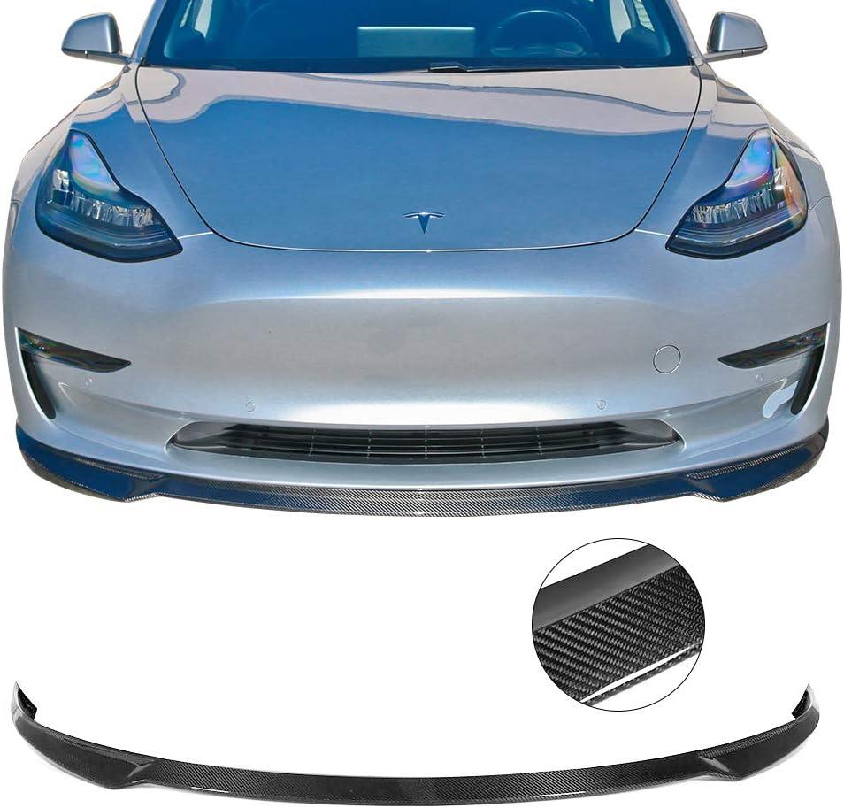 IKON MOTORSPORTS Front Bumper Lip Compatible With 2017-2019 Tesla Model S 2018 Matte Carbon Fiber IKON Style Front Lip Chin Spoiler Valance Splitter