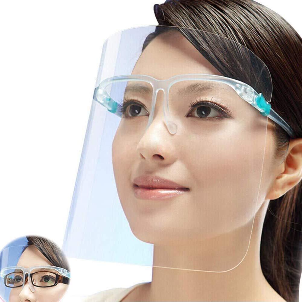 HONYAO Pantalla Protección Facial con 12 Viseras Antivaho Transparentes Reemplazables y 6 Gafas Reutilizables, Face_Shield_Visor Set para Adultos y Niños