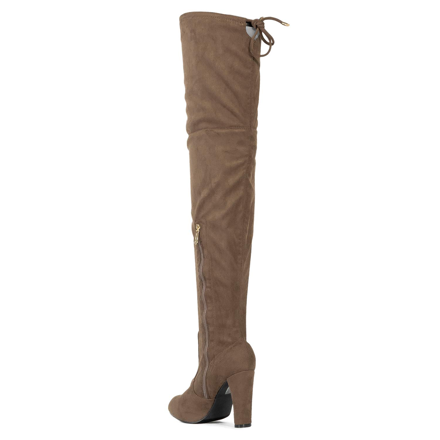 RF ROOM OF FASHION Women Fashion Comfy Vegan Suede Block Heel Side Zipper Thigh High Over The Knee Boots