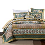 DaDa Bedding Bohemian Paisley Quilt - Green Tea Dreams Bedspread Set - Cotton Patchwork Floral Bright Vibrant - Multi Colorful Yellow Blue Olive - Twin - 2-Pieces